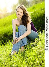 微笑, 女の子, 美しい, 十代, 牧草地