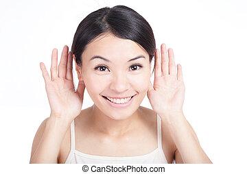 微笑, 女の子, 耳, 若い, 聞きなさい