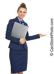 微笑, 女商人, 由于, 文件, 歡迎