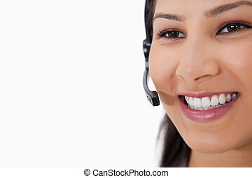 微笑, 女性, 呼叫中心, 代理