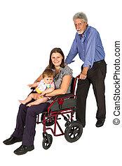 微笑, 女性, 病人, 在, a, 輪椅