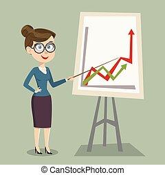 微笑, 女性, 黒板, 提示, 教師, ベクトル, デザイン, テンプレート, board., レッスン, ポインター, 教室, 漫画