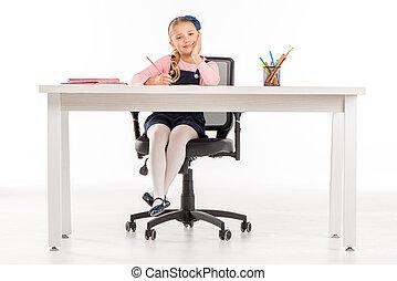 微笑, 女生徒, 机 の 着席, ∥で∥, 本
