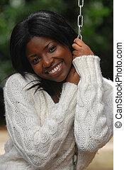 微笑, 女, african-american