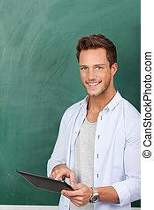 微笑, 学生, ∥で∥, タブレットの pc