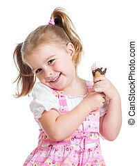 微笑, 孩子, 女孩, 由于, 冰淇淋, 被隔离