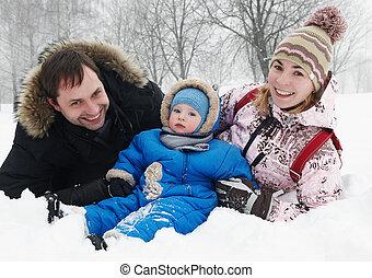 微笑, 家族, 子と一緒に, 中に, 冬