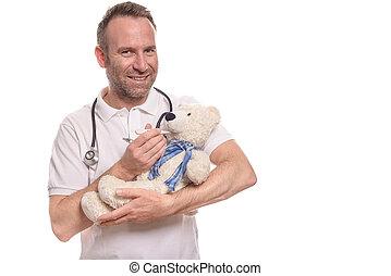 微笑, 小兒科的護士, 由于, a, 玩具熊