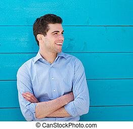 微笑, 屋外で, 若い, ハンサム, 人