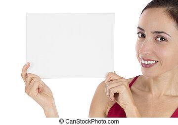 微笑, 年輕婦女, 藏品, a, 銷售, 海報