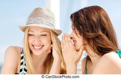 微笑, 年輕婦女, 跑, 在戶外