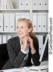 微笑, 年輕, 白膚金發碧眼的人, 從事工商業的女性, 肖像