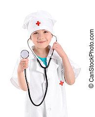 微笑, 年輕, 護士, 握住聽診器