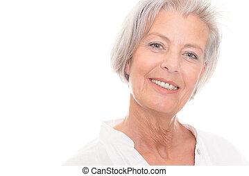 微笑, 年長の 女性