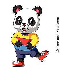 微笑, 幸せ, ワイシャツ, 漫画, スポーツ, 身に着けていること, パンダ