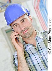 微笑, 建築作業員, 電話