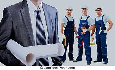 微笑, 建築作業員, man., 建築, バックグラウンド。