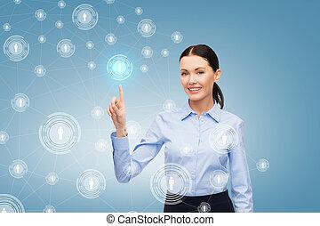 微笑, 從事工商業的女性, 指手指, 在, 你