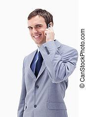 微笑, 携帯電話, ビジネスマン