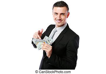 微笑, 显示, 握住, 美元, 隔离, 我们, 背景, 商人, 你, 白色