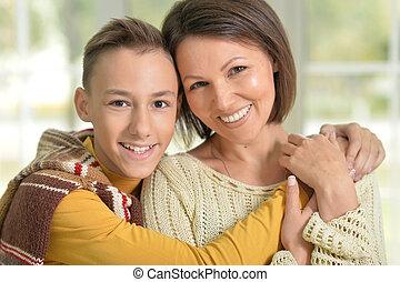 微笑, 母, 若い, 息子