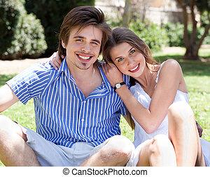 微笑, 浪漫, 年輕夫婦