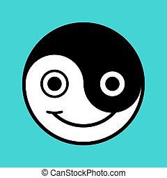 微笑, 漫画, yin - yang, 顔