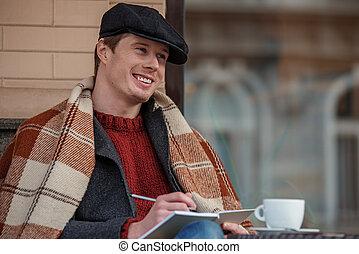 微笑, 物語, 人, コーヒー, 執筆