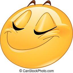 微笑, 由于, 關閉眼睛, 女性, emoticon