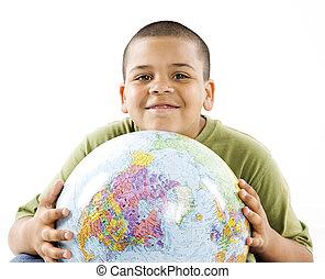 微笑, 男の子, 地球, 若い, ヒスパニック