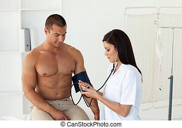 微笑, 病人, 等待, 為, a, 醫生, 在醫院