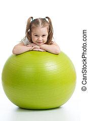 微笑, 相當, 孩子, 由于, 健身, ball., 被隔离, 在懷特上, 背景。