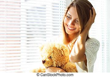 微笑, 窓, 女の子, モデル