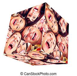 微笑, 立方体, collage., 人々