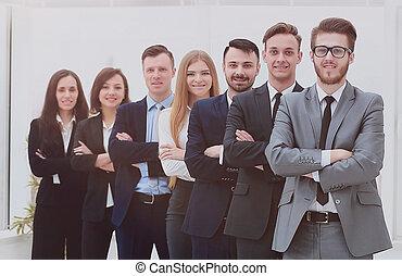微笑, 線, カメラ。, ビジネス チーム