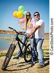 微笑, 自転車, 恋人, 幸せ