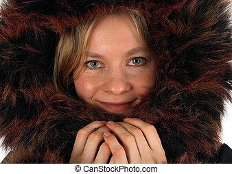 微笑, 若い女性, ∥で∥, a, 毛皮, フード
