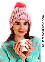 微笑, 若い女性, 中に, a, 暖かい, 帽子