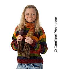 微笑, 若い女性, 身に着けていること, しまのある, セーター