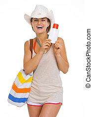 微笑, 若い, 浜, 女, 中に, 帽子, 保有物, 太陽スクリーン, creme