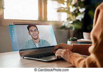 微笑, 若い, partnership., 光景, 呼出し, を経て, 人, 彼女, 側, concept., 従業員, ビジネス, 話し, laptop., 作成, コンピュータ, 小さい, 女, オンラインで, 仕事, ホームビデオ, ミーティング, topic, パートナー