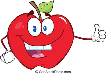 微笑, 親指, アップル, 持ちこたえる