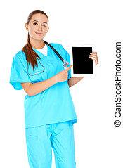微笑, 護士, 指向, a, tablet-pc