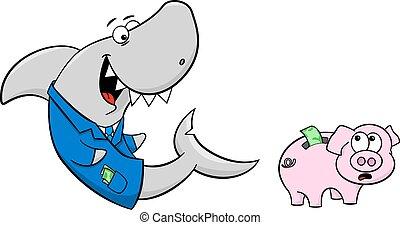 微笑, 財政, サメ, そして, 怖がらせられた, 貯金箱