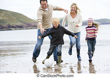 微笑, 足球, 海滩, 玩, 家庭