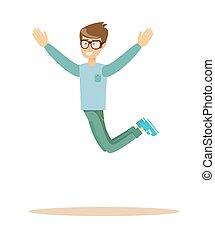 微笑, 跳躍, 偶然, 人