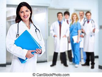 微笑, 醫學的醫生, 婦女, 由于, stethoscope.