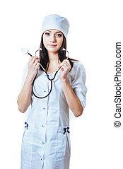 微笑, 醫學的醫生, 婦女, 由于, stethoscope., 被隔离, 在上方, 白色 背景