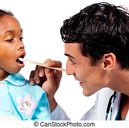 微笑, 醫生, 檢查, 很少, girl\'s, 咽喉