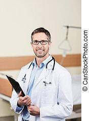 微笑, 醫生, 由于, 剪貼板, 在, 醫院